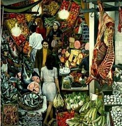 painting of La Vucciria market by Renato Guttuso